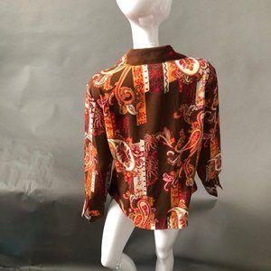Ninety Tops - Paisley Dress Shirt size Lg